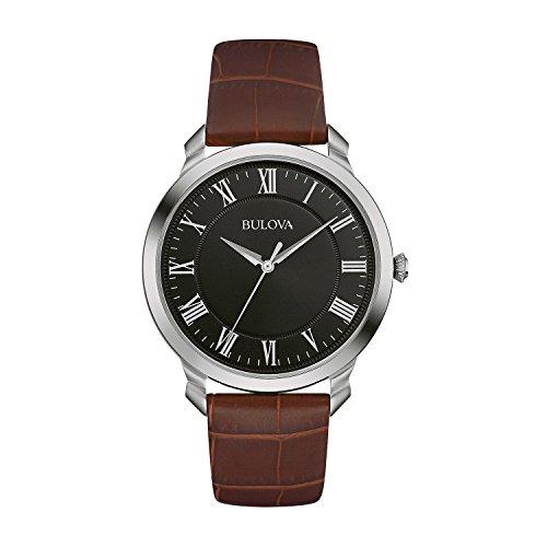 Bulova Men's Designer Watch Leather Strap – Brown Black Classic Dress Wrist Watch 96A184