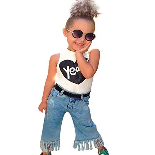 Julhold Kleinkind Kinder Baby Mädchen Outfits T-Shirt Tops + Denim Jeans Hosen Kleidung Mode lässig Sommer 2019Neu