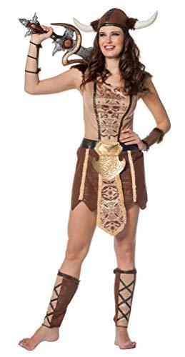 Wikinger Kostüm Sexy - Karneval-Klamotten Wikinger Kostüm für Damen Wikingerin Damen-Kostüm beige braun Größe 36
