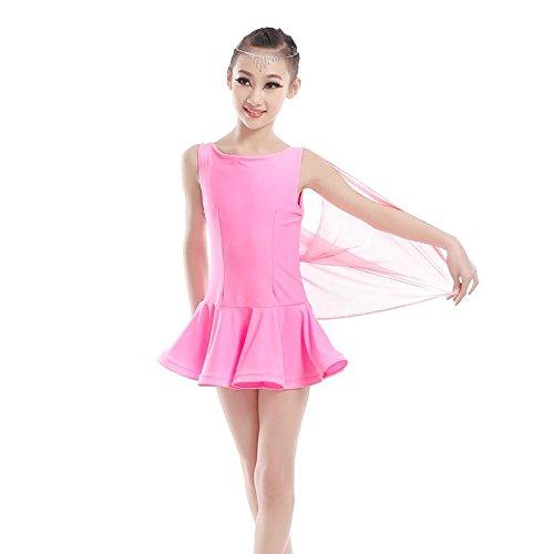 Kind Lateinischer Tanz Ballett Übungsdienst Weiblich Netzgarn Kleid tanzen Performance Spielkleidung , pink , 5xl (Hit Girl Kostüm Kleinkind)