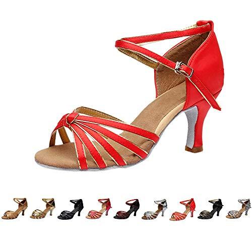 DAY.LIN Chaussures de Danse Femmes Ballerines Moderne Talons Bas Rumba Waltz Prom Ballroom Fête Latin Tango Danse du Salsa Semelle Extérieure Sandales Escarpins 35-41(36,Rouge)
