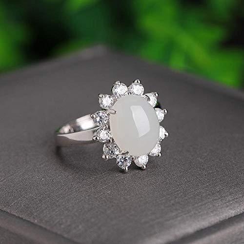 g Silber Ring Mode Oval natürliche weiße Jade Lady Verstellbarer Ring Größe 8 * 10 Verlobungsring ()