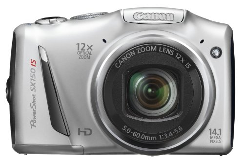 Canon PowerShot SX 150 IS Digitalkamera (14 MP, 12-fach opt. Zoom, 7,6cm (3 Zoll) Display, bildstabilisiert) silber