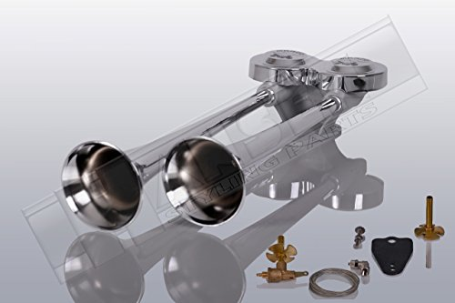 Preisvergleich Produktbild LKW Druckluft Doppelhorn 38cm und 42cm lang (Trichter aus hochglanzverchromten Messing)