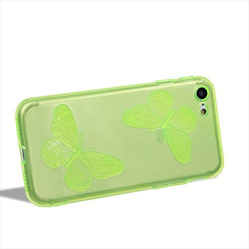 Custodia per Apple iPhone 6 / iPhone 6S 4.7 Silicone Trasparente Farfalles - Girlyard Morbida Crystal Clear Leggera Sottile Coperture Protettiva Case Cover in TPU Antiurto Antipolvere per Apple iPhon Verde