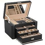 SONGMICS Schmuckkästchen, groß, Schmuckkasten mit 3 Schubladen und Spiegel, tolle Geschenkidee, schwarz JBC04B