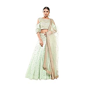 Pushp Paridhan Wedding Wear Traditional Ethnic Wear Handwork Pista Green Lehenga Choli Set For Women