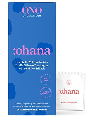 ONO NATAL 3 Stillzeit :ohana - Natürliche Vitamine | Nahrungsergänzung nach Schwangerschaft | pflanzliche Folsäure (Folat), Vitamin D3, B12, DHA, BIO Chlorella | vegan, ohne Konservierungsstoffe (1)