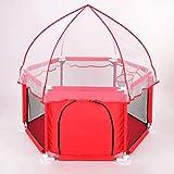 LXLX Kinderspiel Zaun Netze Baby Indoor Spielplatz Sicherheit hohe Schutzzaun (Zaun + Matte + Moskitonetz) (Farbe : Red)