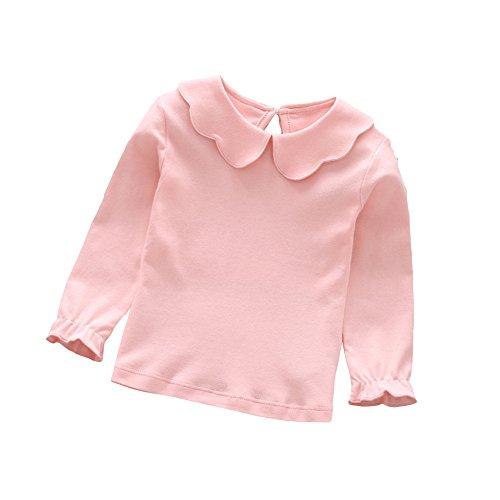 tangbasi® Puppe Halsband Kleinkinder Baby Mädchen Lange Ärmel T-Shirts Spring Peter Pan Kragen Jumper Tops Sweatshirt rosa rose 80cm (Peter-pan-kragen-bluse)