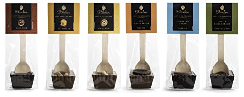 Struben Hot Chocolate Spoon Collection - Set of 6 different flavours - 6 sticks á 50 grams for a lovely rich taste | 300 grams of 100% Struben couverture chocolate - couverture contains less sugar