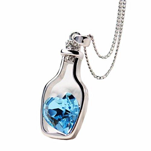 Sunnywill Neue Liebe Drift Flaschen Frauen Damen Mode beliebt Kristall Halskette (Blau)