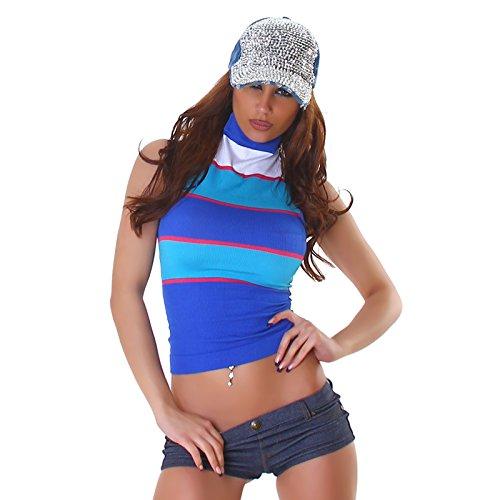Damen Shirt Top T-Shirt Spitze Florales Muster Blumen Spitzenshirt Ärmellos Rollkragen Neck-Top Design Blau