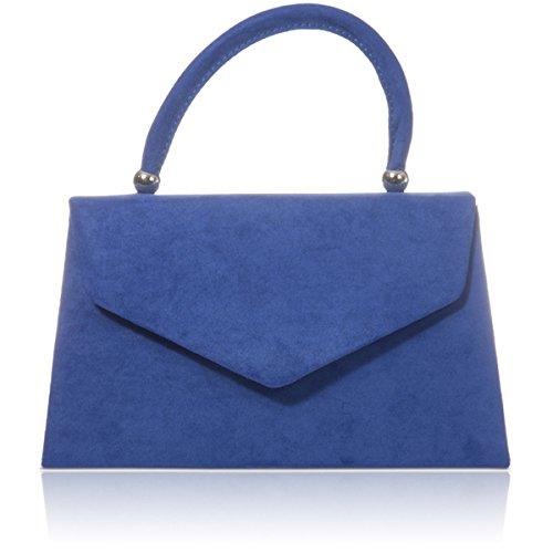 xardi London Nuovo portatile Borse da donna in finta pelle scamosciata donne Sera Frizione Borse Royal Blue
