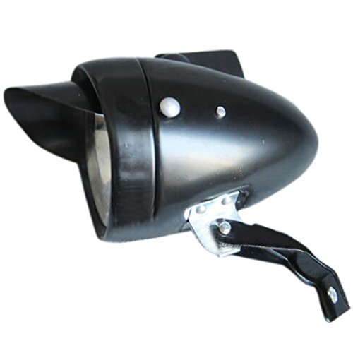 Preisvergleich Produktbild ETASSO Retro Fahrrad LED Batterie Hauptscheinwerfer Lampe mit Spot Lampe 180LM Schwarz