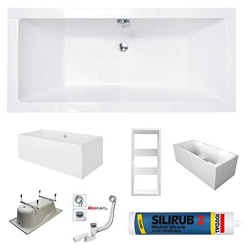 PREMIUM Rechteck Badewanne Wanne SAVA 170 x 75 cm Schürze oder LED Wannenträger Ablaufgarnitur Silikon Füßen | Acryl 5 mm | Komplettset - LED Wannenträger