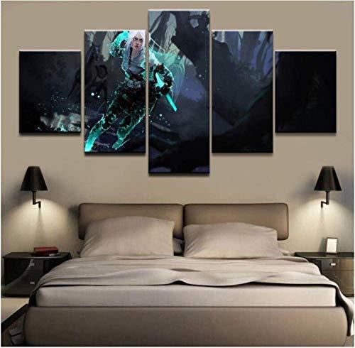 CXDM Segeltuch Drucken Spielplakat The Witcher 3 Wilde Jagd Bild 5 Stück Wandkunst Gemälde Für Wohnzimmer Modernes Zuhause Dekor,B,20×35×2+20×45×2+20×55×1