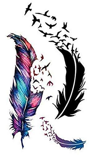 kashyk 10pcs3D Feder-Tattoo-Aufkleber, Wasserdichte Bunte abnehmbare temporäre Tattoo-Feder DIY-Aufkleber, Halloween, Cosplay, täglich, Party, Foto