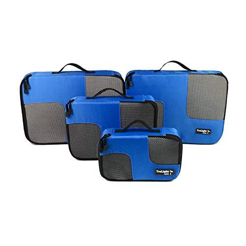 TraLight TraLight ® Packing Cubes | Packwürfel | Packtaschen | Kleidertaschen für Koffer, Reisetasche, Handgepäck, Rucksack, Sporttasche | 4 teiliges Set (Blau)