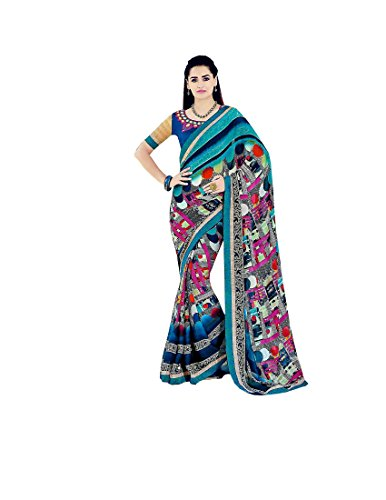 Krish chiffon Fancy Designer Sarees 6.30 meter with blouse-Multicolor
