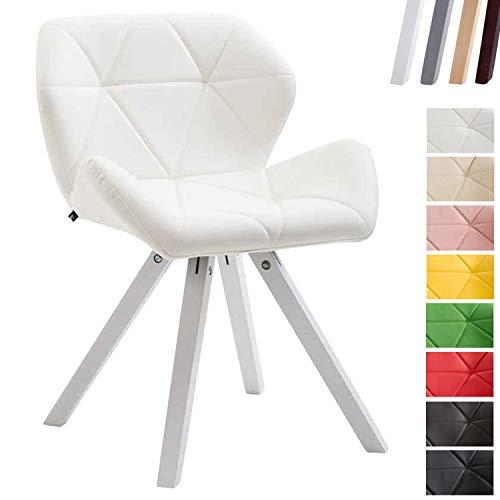 Clp sedia design rétro tyler imbottita, similpelle - poltroncina deco gambe quadrate e telaio in legno di faggio i sedia visitatore con schienale i portata max 125kg bianco bianco