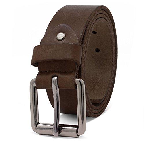 ROYALZ Ledergürtel Herren aus robusten 4mm Büffel-Leder, Vintage Jeans-Herren-Gürtel mit Dornenschließe Voll-Leder 38mm, Farbe:Dunkelbraun, Größe:115