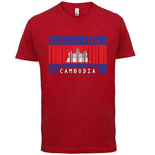 Cambodia / Kambodscha Barcode Flagge - Herren T-Shirt - 13 Farben Rot