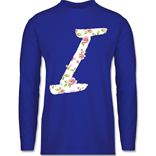 Anfangsbuchstaben - I Rosen - Longsleeve / langärmeliges T-Shirt für Herren Royalblau
