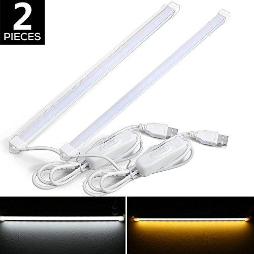 Preisvergleich Produktbild YouOKLight LED Streifen Lichter 30CM 3W 18-SMD2835 USB Nacht Lesebuch Licht Bar Streifen Tischleuchte mit Schalter (Warmes Weiß, 2 Stück)
