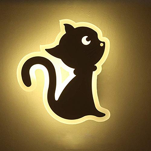 MJK Wandleuchte, LED 12W Wandleuchten aus Eisen und Acryl, Karikaturdekoration Wandleuchten Kitty Modellierlampe Kinderlampe für Kinderzimmer Kind Wohnzimmer Schlafzimmer Spielplatz Warmweiß: 3000K