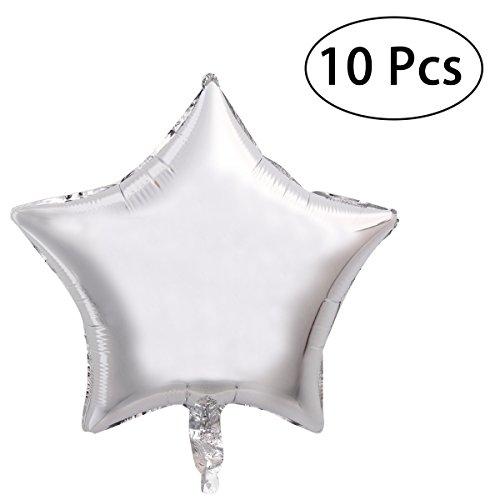 ie Ballon fünfzackigen Stern Mylar Ballons für Party 10pcs (Silber) ()