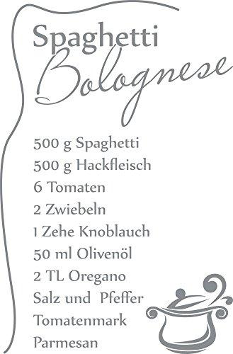 GRAZDesign 620560_57_074 Wandtattoo Küche Spaghetti Bolognese | Küchen-Aufkleber und Tattoo für Deine Wände - Schränke - Fliesen - Möbel | Selbstklebende Klebefolie (87x57cm//074 Mittelgrau)