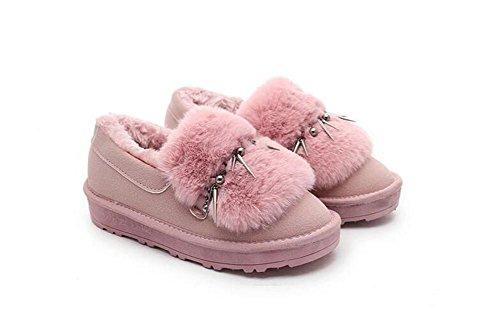 ZZHH Slip Duantong épaisse bottes de neige en peluche mat chaussures plates Pink