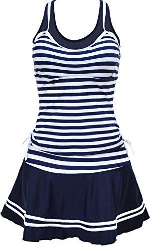 TDOLAH Damen Sport Marine Tankini Blau Streifen Retro Bikini Set mit Rock Badeanzug (S, marineblau) (Bauch-steuerelement Badeanzug)