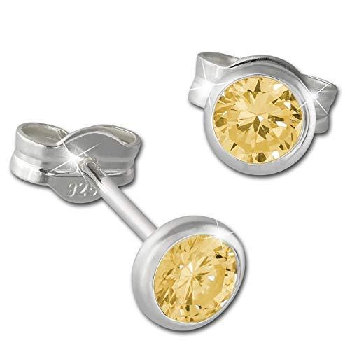SilberDream Ohrringe 4mm für Damen 925 Silber Ohrstecker Zirkonia gelb SDO5534Y