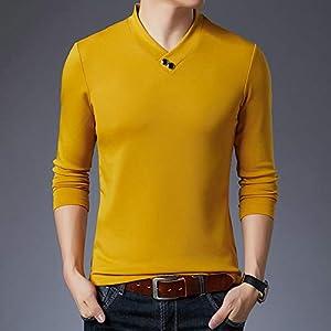 T Shirt Langarm,Der Frühling Männer V-Ausschnitt Solide Bodenbildung Shirt Gelb Dünne T-Stück, Schlanke Business Sport Shirt Quick-Drying Stretch Atmungsaktive Kleidung Pullover Gestrickt Workwea