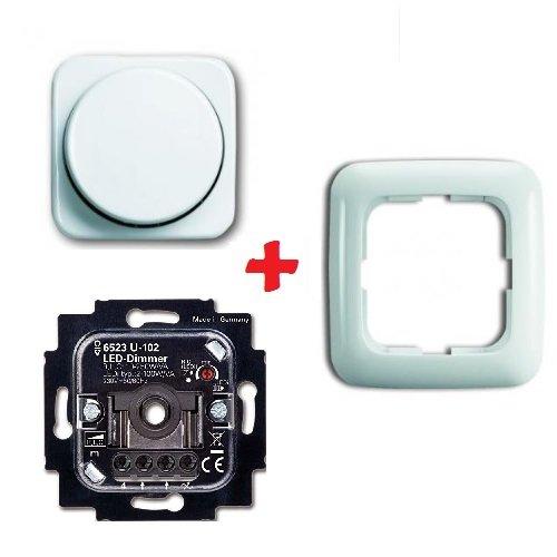 Preisvergleich Produktbild Komplett-Set BUSCH-JÄGER, LED-Drehdimmer -alpinweiß- -Reflex SI- neues Modell 6523 U-102 - Nachfolger zu 6523U