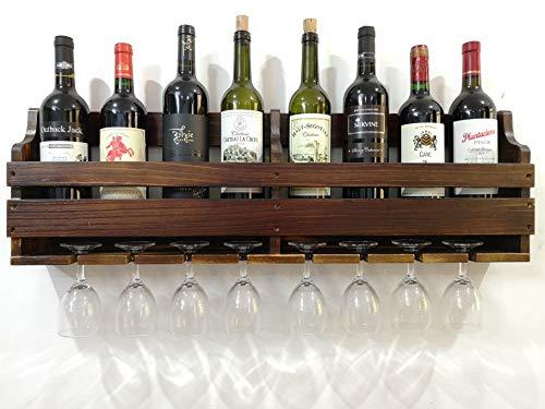 Tuorui wine rack,porta bicchiere di vino,espositore da parete per vino, portabottiglie e portabottiglie, in legno di pino, 8 portabottiglie 8 con gambo lungo in vetro,decorazione cremagliera del vino