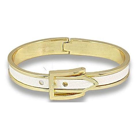 Bracelet Jonc en émail blanc boucle de ceinture menottes en cuir pour femme