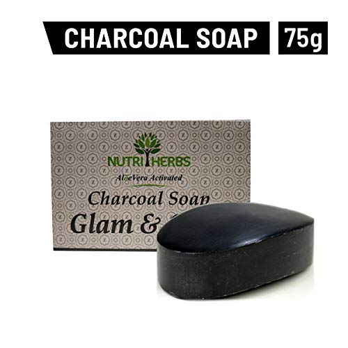 Nutriherbs Activated Charcoal Soap with AloeVera 75g for Men & Women Bar (Pack Of 1)