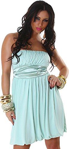Jela London Damen Kleid Cocktailkleid Ballonkleid Bandeau Falten - Mint, 32-38