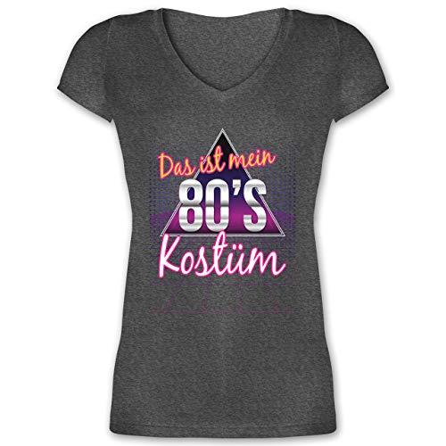 Karneval & Fasching - Das ist Mein 80er Jahre Kostüm - L - Anthrazit meliert - XO1525 - Damen T-Shirt mit - Xmen Damen Kostüm