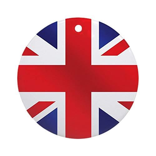 PICOM99 Ceramic Round Ornaments - Union Jack UK Flag Personalized Custom Handmade Holiday Christmas Ornament Ideas 2019, 2.87