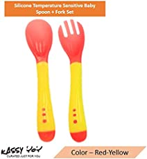 Kassy Pop Silicone Temperature Sensitive Baby Spoon & Fork Set – Ideal Baby Training Tableware for Introducing Your 12 Months+ Infant or Toddler to Self-Feeding and Solid Food