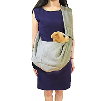hanwey Dog Sling Puppy Sling Bag for Small Dogs Puppy Cats Pets Animals up to 10 Lbs, Comfortable, Hands Free, Machine Washable (Grey) 41 2BLFscKoSL