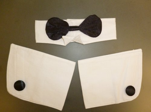 MRS CHRISTMAS Black and White Bow Tie and Cuffs Set - Fancy Dress Accessories (HW219) [Toy]