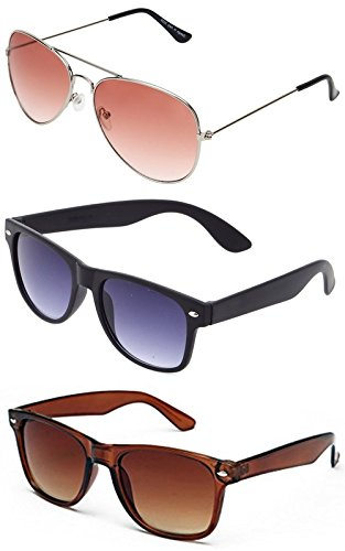 Sheomy Combo Set of 3 UV Protect Fashion Wayfarer Goggle and Sunglasses Ideal for Men Women Boys and Girls With Three Hard Black Boxes