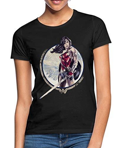 Spreadshirt Warner Bros Wonder Woman Schwert Und Schild Frauen T-Shirt, M (38), Schwarz