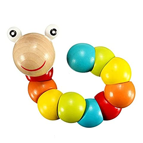 Hrph Kids Cute Insert Puzzle Educational Wooden Toys Baby Children Fingers Flexible Training Science Twisting Worm Toy
