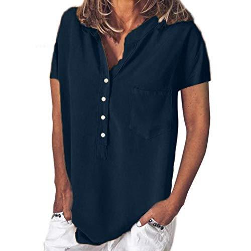SHOBDW Damen Sommermode Einfarbig Knopf mit Tasche lässig Top Bluse Frauen Vintage Office-Werkzeuge Oberseiten Hemdbluse Damen